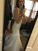 Trumpet/Mermaid Sweetheart Sweep Train Tulle Lace Wedding Dress With Beading Sequins (002106064)
