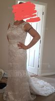 Trumpet/Mermaid Scoop Neck Court Train Lace Wedding Dress With Beading (002127243)