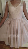 V-neck Knee-Length Chiffon Lace Bridesmaid Dress With Bow(s) (266209939)