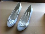 Women's Satin Kitten Heel Closed Toe Pumps With Rhinestone (273194789)