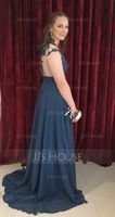 A-Line/Princess Scoop Neck Sweep Train Chiffon Prom Dresses With Split Front (018093795)