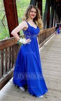 A-Line/Princess Sweetheart Floor-Length Chiffon Prom Dresses With Ruffle Beading Appliques Lace (272184149)