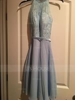 Scoop Neck Knee-Length Chiffon Lace Cocktail Dress With Bow(s) (270193888)
