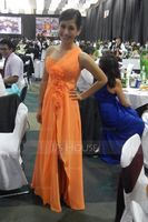 A-Line/Princess One-Shoulder Floor-Length Chiffon Holiday Dress With Ruffle Flower(s) Split Front (020036567)