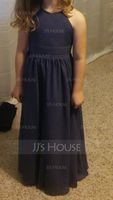A-Line Scoop Neck Floor-Length Chiffon Junior Bridesmaid Dress With Ruffle (009130511)