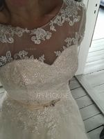 Ball-Gown/Princess Illusion Court Train Tulle Lace Wedding Dress With Beading Sequins (002127259)