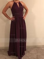 A-Line Scoop Neck Floor-Length Chiffon Prom Dresses With Ruffle (018112635)