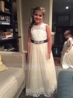 A-Line/Princess Floor-length Flower Girl Dress - Satin/Tulle/Lace Sleeveless Scoop Neck With Sash/Beading (010130858)