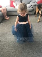 A-Line/Princess Knee-length Flower Girl Dress - Tulle Lace Sleeveless Scoop Neck With Bow(s) Back Hole (269177232)