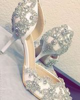 Women's Leatherette Stiletto Heel Closed Toe Pumps Sandals With Rhinestone (273232998)