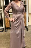 A-Line/Princess V-neck Floor-Length Chiffon Lace Mother of the Bride Dress With Flower(s) Cascading Ruffles (008102699)