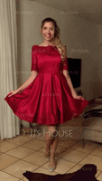 A-Line Off-the-Shoulder Knee-Length Satin Cocktail Dress With Appliques Lace (016081120)