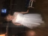 A-Line/Princess Tea-length Flower Girl Dress - Tulle/Charmeuse/Lace Sleeveless Scoop Neck With Beading/Bow(s) (010136594)