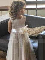 Tea-length Flower Girl Dress - Satin Tulle Sleeveless Scoop Neck With Flower(s) (269258118)