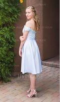 A-Line/Princess Off-the-Shoulder Knee-Length Satin Lace Bridesmaid Dress With Beading Sequins (266177096)