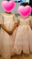 Ball-Gown/Princess Floor-length Flower Girl Dress - Tulle/Lace 1/2 Sleeves Scoop Neck With Sequins (010136579)