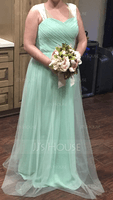 A-Line Sweetheart Floor-Length Chiffon Tulle Bridesmaid Dress With Ruffle (007090208)