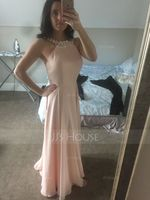 A-Line Scoop Neck Floor-Length Chiffon Prom Dresses With Beading (018059409)