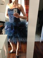 A-Line Sweetheart Asymmetrical Tulle Cocktail Dress With Appliques Lace Flower(s) (016008220)