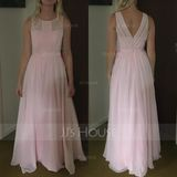 A-Line/Princess Scoop Neck Floor-Length Chiffon Bridesmaid Dress With Ruffle (266176984)