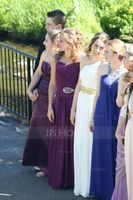 A-Line/Princess One-Shoulder Floor-Length Chiffon Prom Dresses With Ruffle Beading Sequins Split Front (272184143)