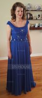 Scoop Neck Floor-Length Chiffon Lace Mother of the Bride Dress With Beading Sequins (267196396)