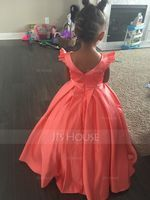 Floor-length Flower Girl Dress - Satin Sleeveless Scoop Neck With Bow(s) (269193749)