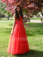 Ball-Gown Sweetheart Floor-Length Tulle Prom Dresses With Ruffle Beading Appliques Lace Sequins (018112897)
