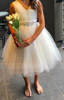 Knee-length Flower Girl Dress - Satin Tulle Sleeveless V-neck (269213911)