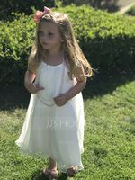 A-Line/Princess Tea-length Flower Girl Dress - Chiffon Sleeveless Scoop Neck With Lace (010091218)