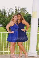 V-neck Short/Mini Stretch Crepe Prom Dresses (272202731)
