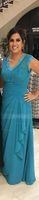 V-neck Floor-Length Chiffon Mother of the Bride Dress With Cascading Ruffles (267196475)