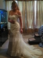 Trumpet/Mermaid Sweetheart Sweep Train Tulle Wedding Dress (002134813)