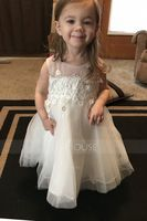 A-Line/Princess Knee-length Flower Girl Dress - Organza Satin Tulle Cotton Sleeveless Scoop Neck With Appliques (269177204)