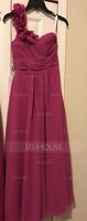 One-Shoulder Floor-Length Chiffon Junior Bridesmaid Dress With Ruffle Flower(s) (268193364)