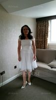 A-Line/Princess Square Neckline Knee-Length Chiffon Lace Mother of the Bride Dress With Ruffle Bow(s) (267177669)