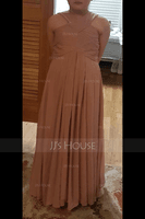 A-Line V-neck Floor-Length Chiffon Junior Bridesmaid Dress With Ruffle (009081159)