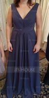 A-Line/Princess V-neck Floor-Length Chiffon Bridesmaid Dress With Ruffle Lace Beading Sequins (266176974)
