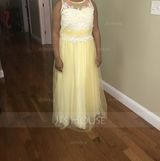 A-Line Scoop Neck Floor-Length Tulle Junior Bridesmaid Dress With Beading Sequins (009106846)