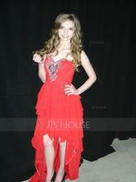 A-Line Sweetheart Asymmetrical Chiffon Prom Dresses With Beading Cascading Ruffles (018004808)