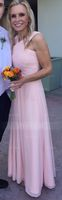 A-Line Y-neck Floor-length Chiffon Bridesmaid Dress