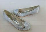 Women's Satin Kitten Heel Closed Toe Pumps With Rhinestone (047057090)