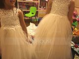 A-Line Knee-length Flower Girl Dress - Tulle/Lace Sleeveless Scoop Neck With Back Hole (010125859)
