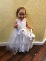 A-Line/Princess Tea-length Flower Girl Dress - Tulle/Lace Sleeveless Scoop Neck With Sash/Bow(s)/Back Hole (010091707)