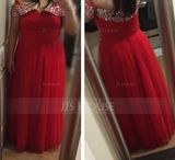 Ball-Gown/Princess Off-the-Shoulder Floor-Length Tulle Prom Dresses With Ruffle Beading (272252229)