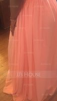 A-Line V-neck Floor-Length Chiffon Prom Dresses With Ruffle (018112673)