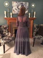A-Line V-neck Floor-Length Chiffon Lace Mother of the Bride Dress With Beading Sequins Cascading Ruffles (008107653)