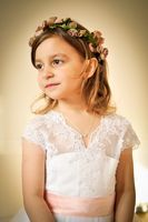A-Line Sweep Train Flower Girl Dress - Tulle/Lace Sleeveless V-neck With Sash (010122564)