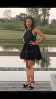 A-Line Scoop Neck Short/Mini Tulle Lace Homecoming Dress With Beading Sequins Bow(s) Pleated (300244301)
