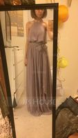 Scoop Neck Floor-Length Chiffon Bridesmaid Dress (266213293)